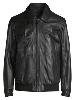 ANDREW MARC Men'S Vaughn Zip-Front Leather Jacket in Black