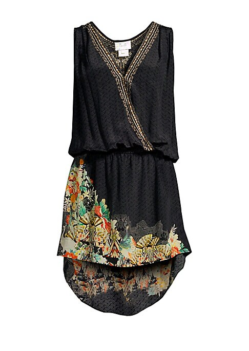 """Image of Add a layer of glamour to your swimwear look with this printed hi-lo cover-up. Surplice neck. Sleeveless. Elasticized waist. Pull-on styling. Hi-lo hem. Silk. Dry clean. Imported. Model shown is 5'10"""" (177cm) wearing US size Small."""