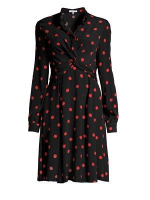 Barra Polka Dot A-Line Shirt Dress, Black