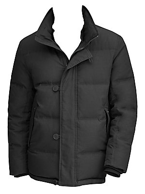 Image of Warm down filled quilted mid-length parka with a luxe removable rabbit fur collar. Removable rabbit fur collar Funnel collar Long sleeves Front zip with covered button loop placket Side slip pocket Rib knit cuffs Lined Polyester/elastane Fill: down/feathe