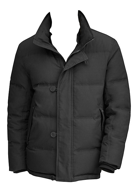 Image of Warm down filled quilted mid-length parka with a luxe removable rabbit fur collar. Removable rabbit fur collar. Funnel collar. Long sleeves. Front zip with covered button loop placket. Side slip pocket. Rib knit cuffs. Lined. Polyester/elastane. Fill: dow