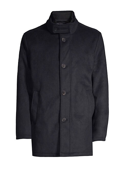 """Image of This stretch wool waterproof coat features an attached quilted inner coat. Button Stand lapels. Long sleeves. Quilted zip-up inner coat. Front button closure. Slip pockets at waist. Polyester/wool. Dry clean. Imported. SIZE & FIT. Regular fit. About 33"""" f"""
