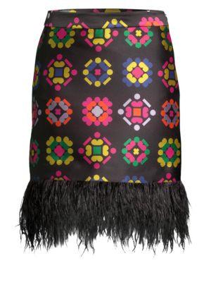 Geometric Jacquard Fringe Pencil Skirt, Multi