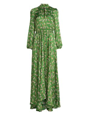 Silk Cheetah-Print Mockneck Maxi Dress in Emerald