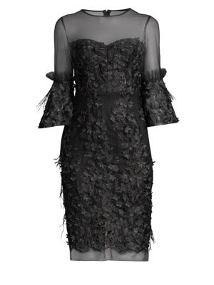 Chrissy Embroidery & Feather Dress, Black