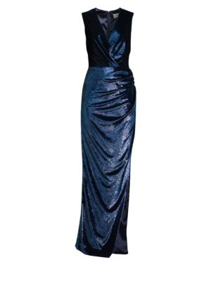 Noreen Velvet Wrap Gown by Milly