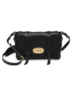 Grace Lux Leather Messenger Bag, Black