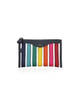 Multicolor Metallic Stripe Clutch by Anya Hindmarch