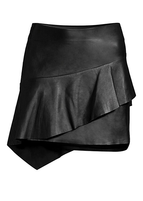 """Image of From the Saks It List: The Mini Skirt. Asymmetrical ruffle adds interest to sleek leather skirt. Concealed side zip. Length, about 19.5"""".Leather. Dry clean by leather specialist. Imported. Model shown is 5'10"""" (177cm) and wearing US size 4."""