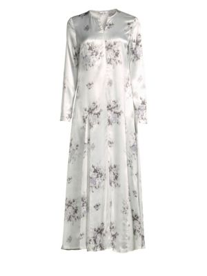 Cameron Floral Midi Dress Light Floral, Egret