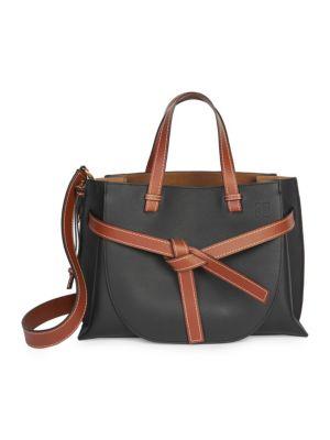 LOEWE Gate Small Leather Top-Handle Tote Bag in Black