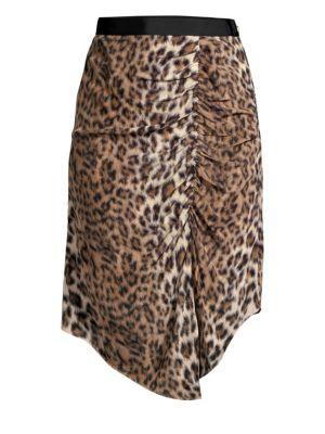 JOIE Ornica Leopard Handkerchief Skirt in Brown