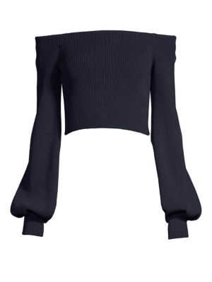 Faith Connexion Off-The-Shoulder Crop Sweater