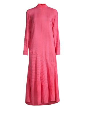Lynch Seersucker Midi Dress, Hot Pink