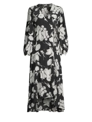Floral-Print Silk Crepe De Chine Wrap Dress, Black