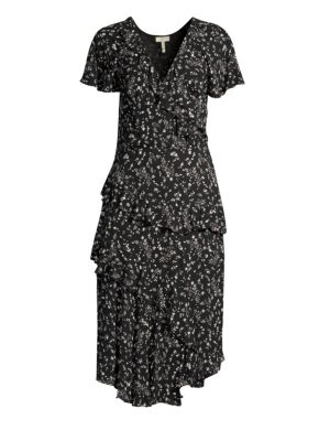 Orita Ditsy Floral-Print Ruffle Midi Dress, Caviar