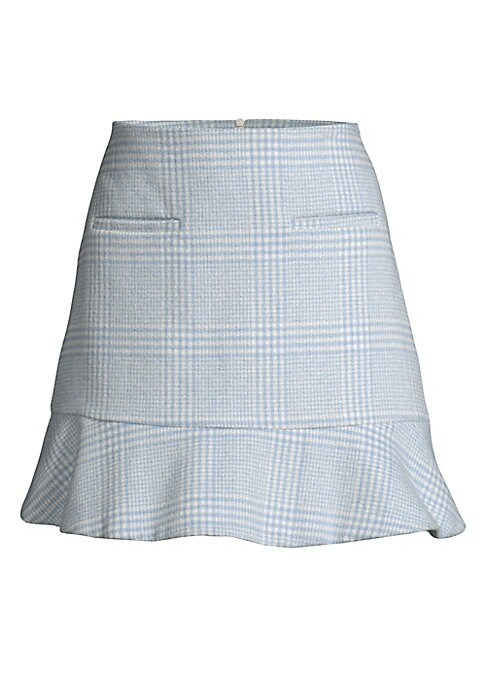 """Image of From the Saks It List: The Mini Skirt. Idyllic check print makes this skirt a timeless piece. Seamed waist. Concealed back zip. Two front welt pockets. Ruffled hem. About 17"""" long. Wool/acrylic/polyester. Dry clean. Imported. Model shown is 5'10"""" (177cm)"""
