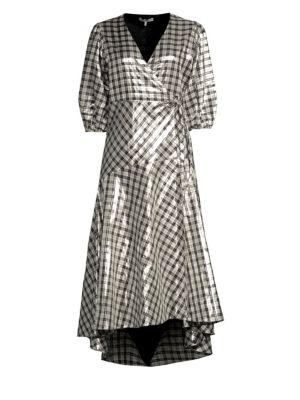Lagarde Checked Silk-Blend Lamé Wrap Dress, Silver