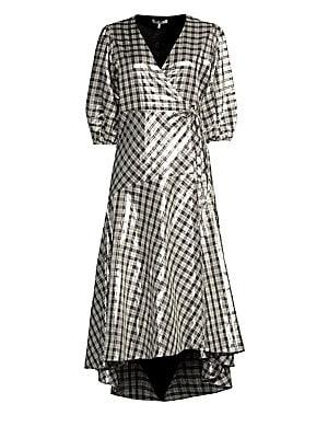 c797cf88 GANNI - Lagarde Metallic Plaid Wrap Dress - saks.com