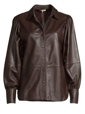 Rhinehart Button-Down Leather Top, Ganache