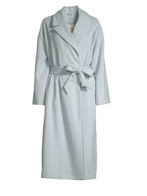 Woodside Belted Gingham Wool-Blend Felt Coat, Serenity Blue