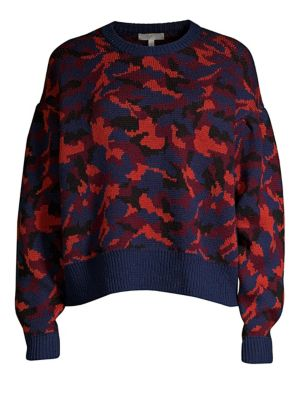 Brycen Camo Wool Crewneck Sweater, Midnight