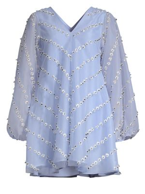 Rosenfeld Floral-Appliquéd Organza Mini Dress, Serenity Blue
