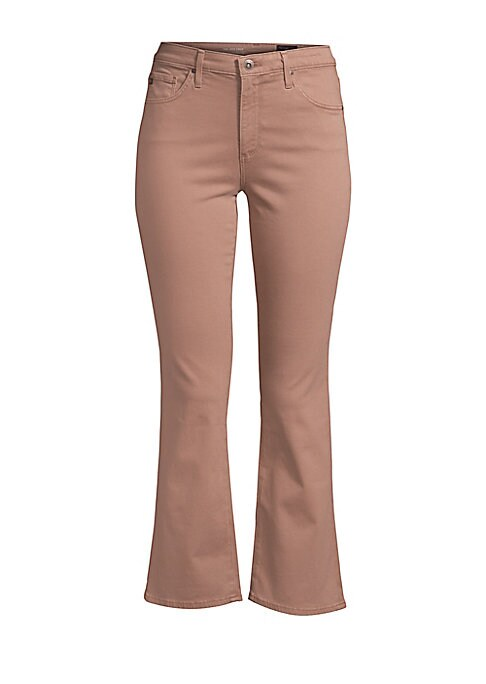 """Image of High waist cropped jean with fashion forward kick flare hem. Five pocket styling. Flare cuff. Rise, about 9"""".Inseam, about 25"""".Leg circumference, about 14"""".Cotton/modal/polyester/polyurethane. Machine wash. Made in USA. Model shown is 5'10"""" (177cm) wearin"""