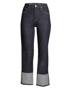 The Rhett High Waist Cuff Crop Jeans, Blue Note