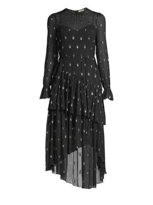 Maylene Asymmetrical Silk Blend Dress in Caviar