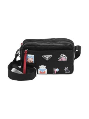 Nylon Shoulder Bag With Graphic AppliquÉS in Multi