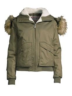 86648337e Hunter. Faux Fur-Trim Insulated Bomber Jacket