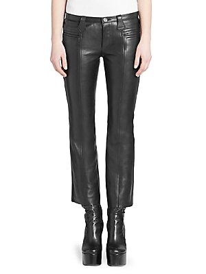 Image of From the Saks IT LIST HIGH GLOSS Edgy meets glam in fall's uber-polished materials. The staple leather pant is updated with a cropped fit complete with feminine kick flare cuff. Center seams at the front and back of the leg create an overall streamlined l