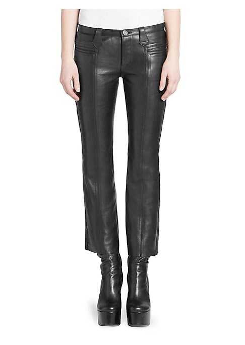 Image of From the Saks IT LIST. HIGH GLOSS. Edgy meets glam in fall's uber-polished materials. The staple leather pant is updated with a cropped fit complete with feminine kick flare cuff. Center seams at the front and back of the leg create an overall streamlined