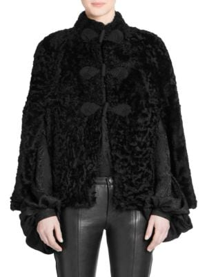 Frog-Fastening Shearling Cape in Black