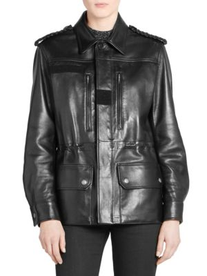 Leather Military Jacket in Black
