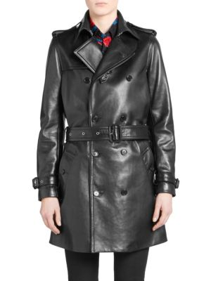 Leather Double-Breasted Trench Coat - Black Size 36 Fr in 1000 Black