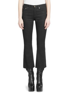 Cropped Frayed Low-Rise Flared Jeans in Black