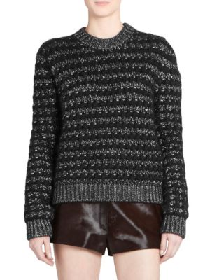Metallic Mohair Zigzag Sweater in Black