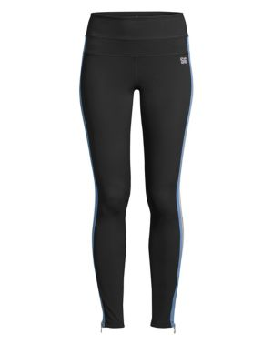 Side-Stripe High-Rise Activewear Track Tights in Black