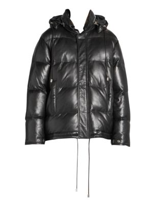 Leather Down Puffer Jacket in Black