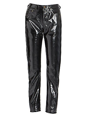 Image of From the Saks IT LIST HIGH GLOSS Edgy meets glam in fall's uber-polished materials. Styled after a high-waist, five-pocket jean, these high-shine PU pants are the ultimate gear for a rockstar. Swap out those go-to jeans and add these to take any outfit to