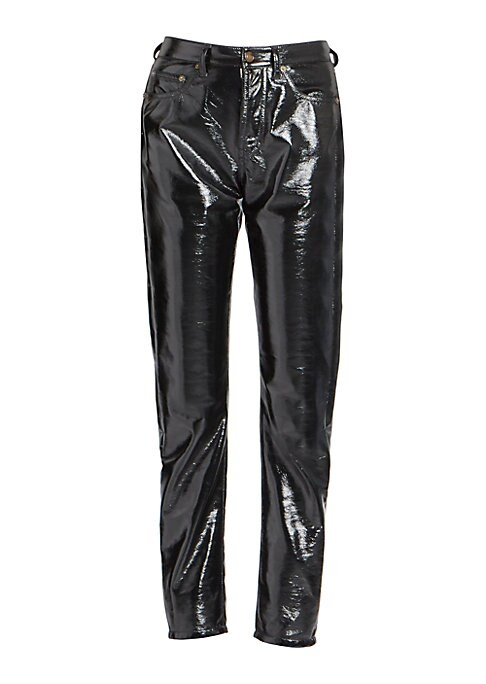 Image of From the Saks IT LIST. HIGH GLOSS. Edgy meets glam in fall's uber-polished materials. Styled after a high-waist, five-pocket jean, these high-shine PU pants are the ultimate gear for a rockstar. Swap out those go-to jeans and add these to take any outfit