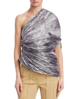 One-Shoulder Pleated Metallic Cocoon Top, Silver