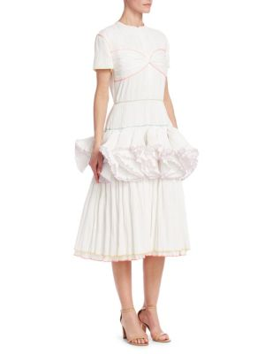 Marshmallow Pleated Fit-And-Flare Dress in White