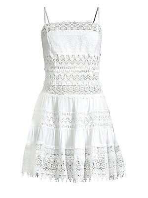 "Image of Charming cotton-blend mini dress elevated with lace Squareneck Spaghetti straps Pullover style Lace hems About 35"" from shoulder to hem Cotton/polyester Hand wash Made in Spain Model shown is 5'10 (177cm) wearing US size Small. Contemporary Sp - Trend. Ch"