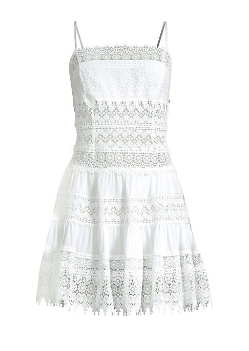 """Image of Charming cotton-blend mini dress elevated with lace. Squareneck. Spaghetti straps. Pullover style. Lace hems. About 35"""" from shoulder to hem. Cotton/polyester. Hand wash. Made in Spain. Model shown is 5'10"""" (177cm) wearing US size Small."""
