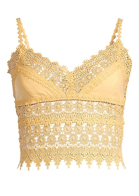 """Image of Flirty cropped camisole trimmed with open panels of crochet lace.V-neck. Spaghetti straps. Pull-on style. Scoop back. Elasticized back. Cotton/polyester. Hand wash. Made in Spain. SIZE & FIT. Fitted, cropped silhouette. About 17"""" long. Model shown is 5'10"""