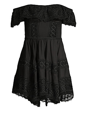 """Image of Flirty shoulder-baring mini dress accented with lace ruffle Off-the-shoulder Flutter sleeves Concealed side zip closure About 32"""" from shoulder to hem Cotton/polyester Hand wash Made in Portugal Model shown is 5'10 (177cm) wearing US size Small. Contempor"""