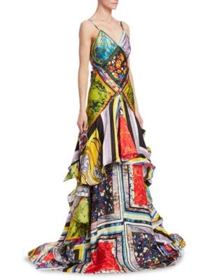 Rosie Assoulin Gowns Printed Tiered Ruffle Ball Gown